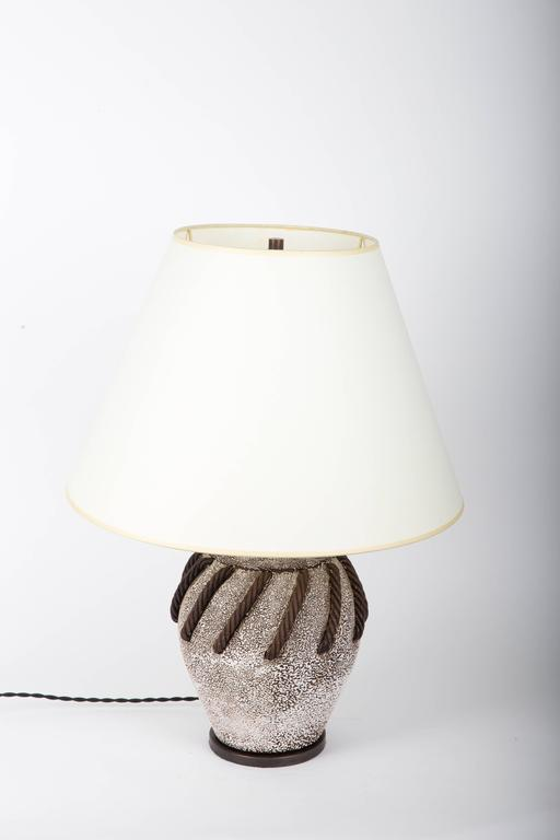 Textured Brown + White Ceramic Lamp with Rope Detailing 3
