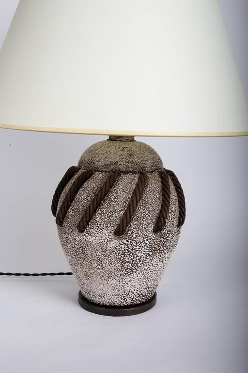 Textured Brown + White Ceramic Lamp with Rope Detailing 4