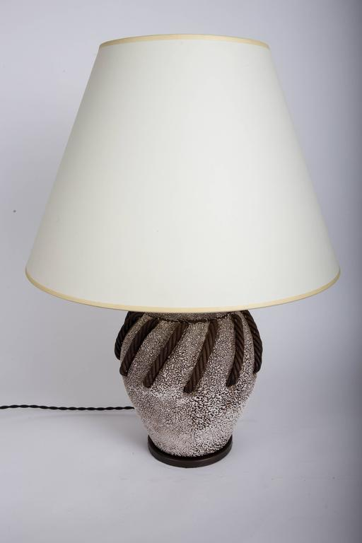 Textured Brown + White Ceramic Lamp with Rope Detailing 5