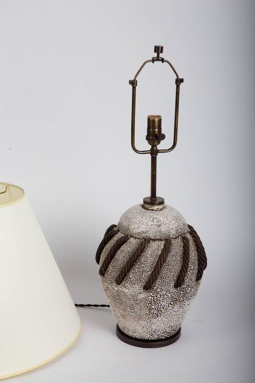 Textured Brown + White Ceramic Lamp with Rope Detailing 6