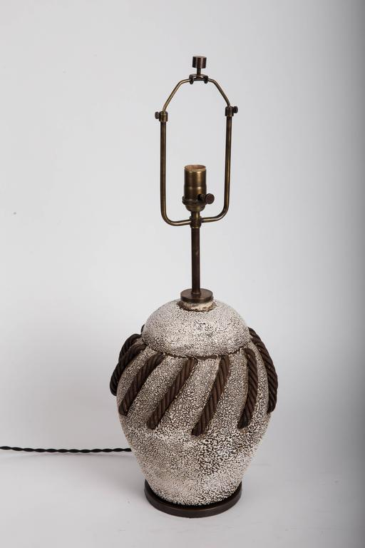 Textured Brown + White Ceramic Lamp with Rope Detailing 7