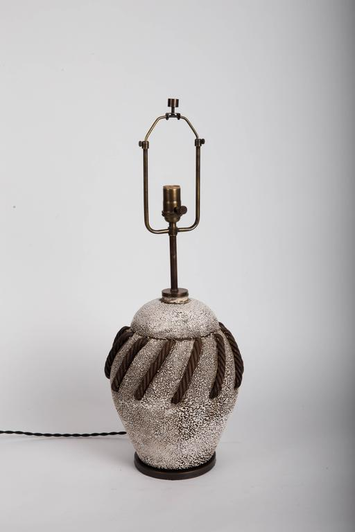 Textured Brown + White Ceramic Lamp with Rope Detailing 8