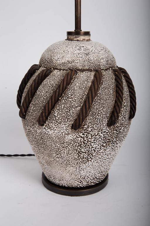 Textured Brown + White Ceramic Lamp with Rope Detailing 9