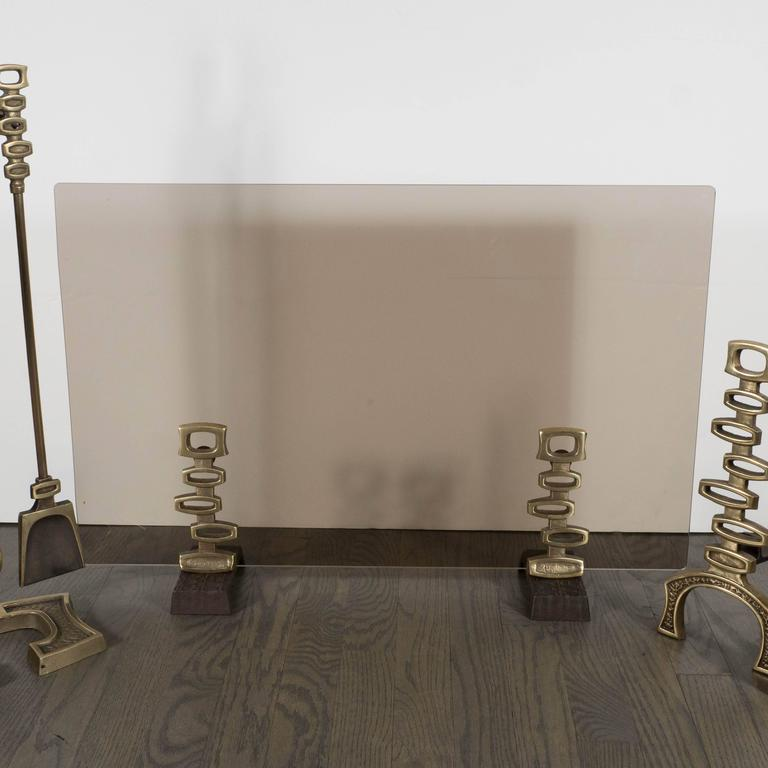 French Mid Century Modern Bronze Fireplace Suite Of