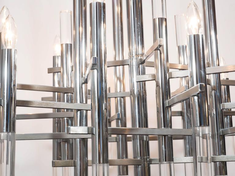 Italian Mid-Century Modern Chrome & Lucite Chandelier by Gaetano Sciolari In Excellent Condition For Sale In New York, NY