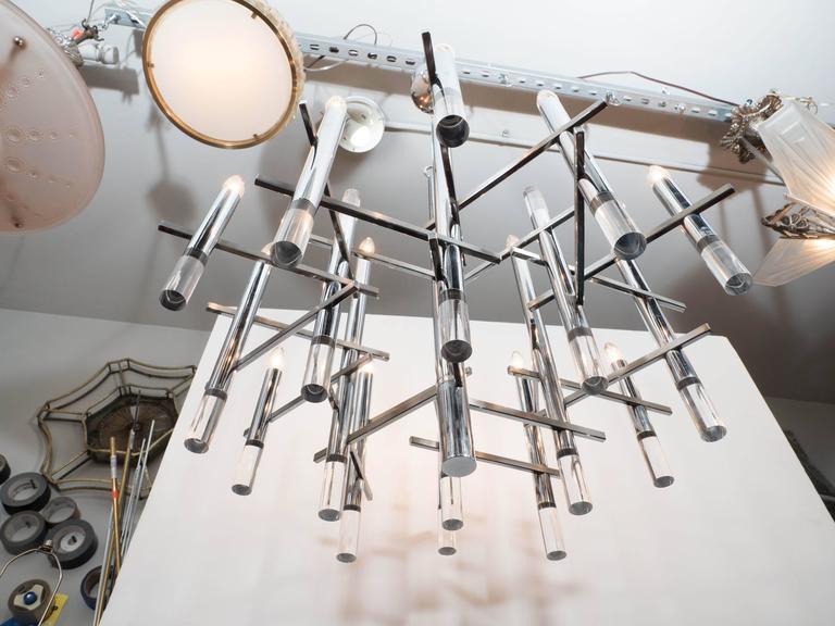 Italian Mid-Century Modern Chrome & Lucite Chandelier by Gaetano Sciolari For Sale 2