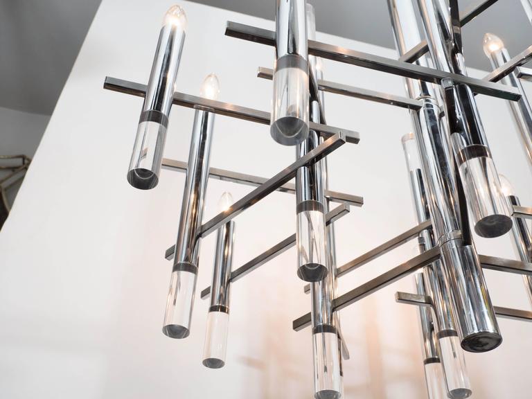 Italian Mid-Century Modern Chrome & Lucite Chandelier by Gaetano Sciolari For Sale 3
