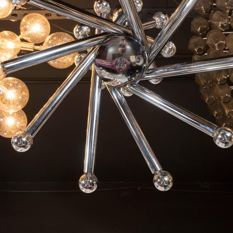 Mid-Century Modernist Tubular Chrome Chandelier in the Manner of Sciolari In Excellent Condition For Sale In New York, NY