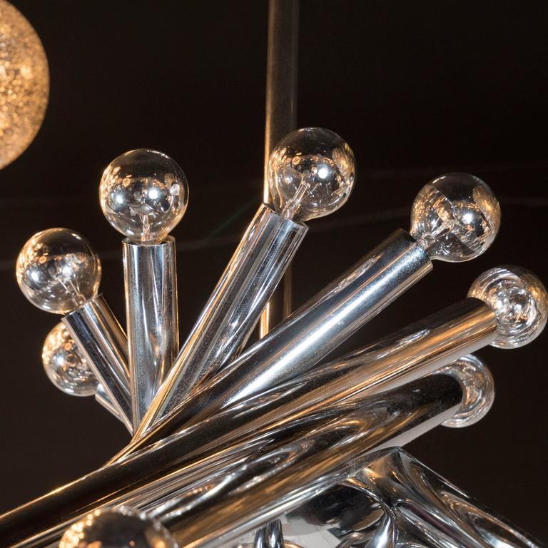 Mid-Century Modernist Tubular Chrome Chandelier in the Manner of Sciolari For Sale 2