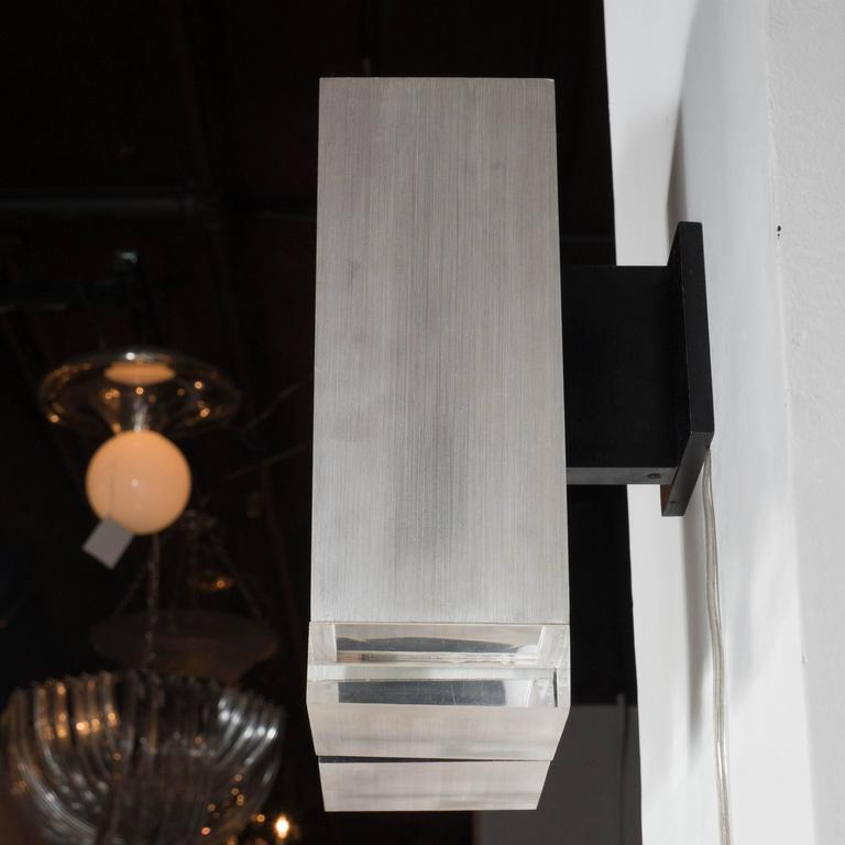 Pair Of Mid Century Brushed Aluminum Down Light Sconce