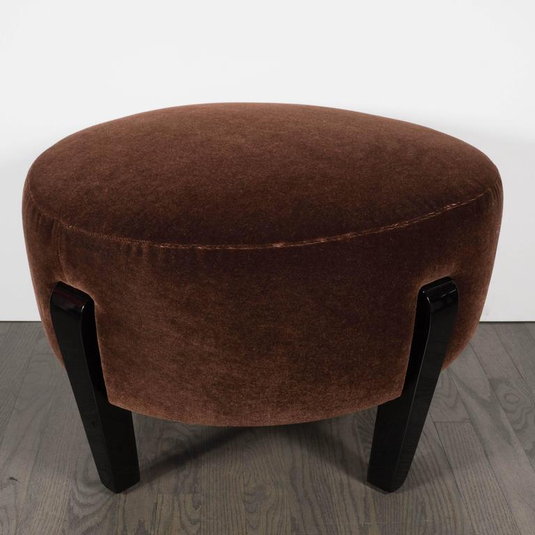 Art Deco Oval Ottoman Or Stool In Cognac Mohair With Black