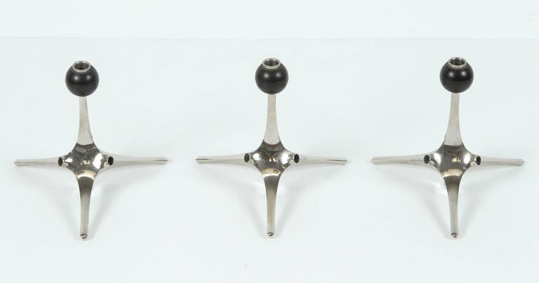 Rare Nagel candle holder, West Germany, polished nickel-plated. Rare set of three Nagel-KG modular candle holders designed by Fritz Nagel and Caesar Stoffi. This candleholders could be used individually or assemble to create various configurations.
