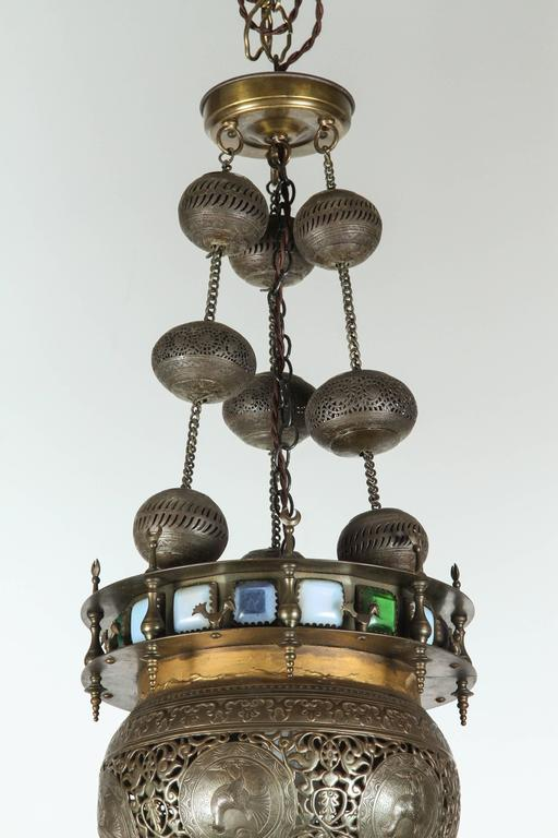 Moorish brass light fixture chandelier with glass panels for sale at 1stdibs - Moorish chandelier ...