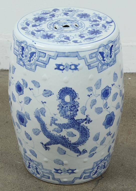 White And Blue Chinese Ceramic Garden Stool At 1stdibs
