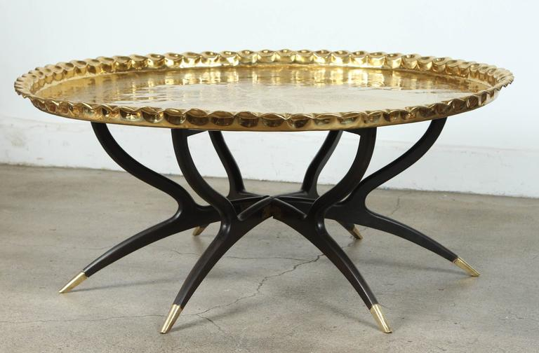 Large Polished Brass Tray Coffee Table On Spider Leg At 1stdibs