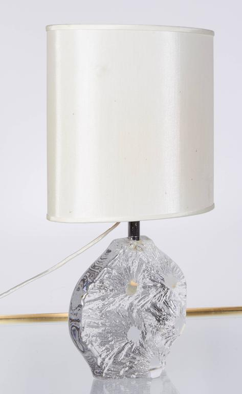 Mid Century Modern 1970s Daum France Abstract Crystal Base Table Lamp For  Sale
