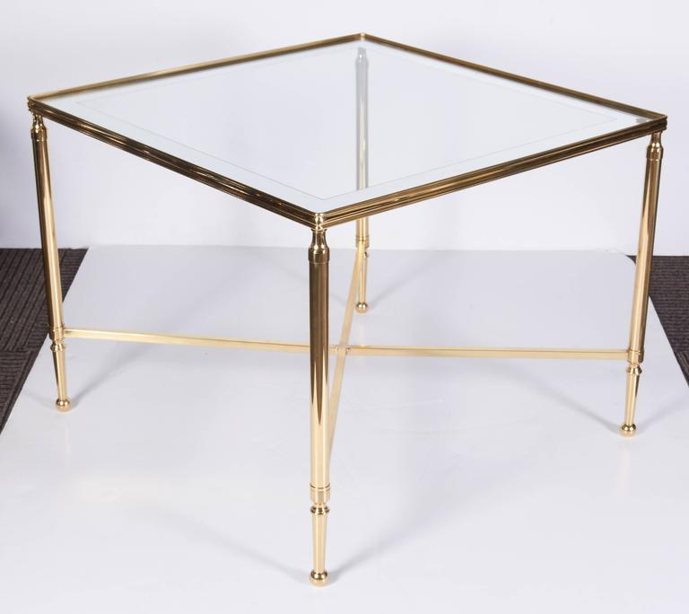 Christofle 1950s Neoclassical Brass and Mirror Top Table In Good Condition For Sale In New York, NY