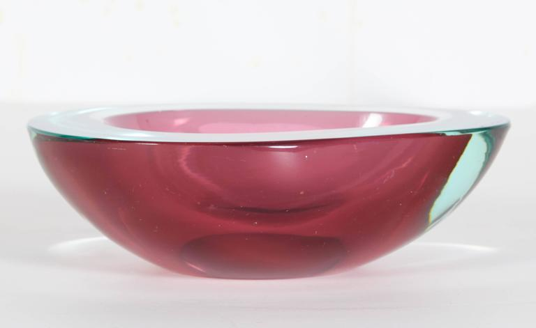 Italian Cenedese Sommerso Geode Art Glass Bowl In Good Condition For Sale In New York, NY