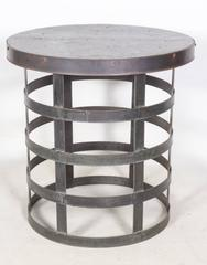 Pair of Rustic Tables Crafted in Galvanized Zinc