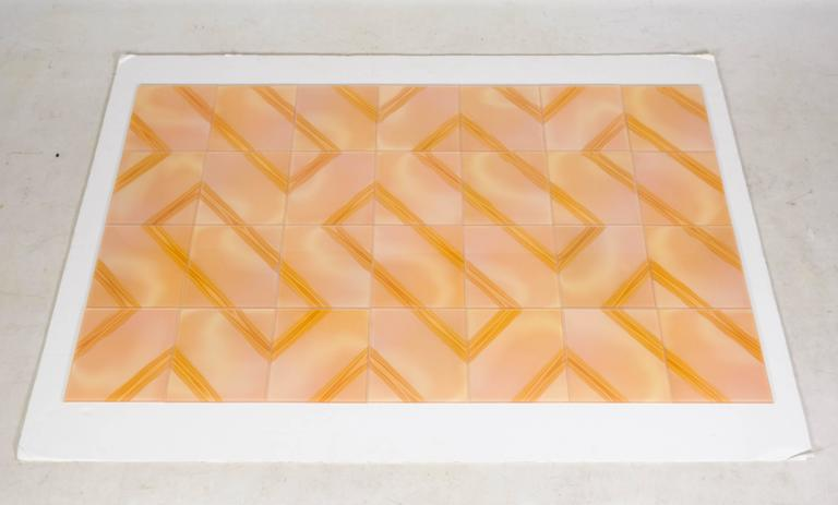 A collection of new old stock vintage art glass wall tiles from Czechoslovakia, 1980s. Each tile has a wonderful optic effect and is infused with color and texture. When assembled the overall effect is playful and remarkable. There are a few