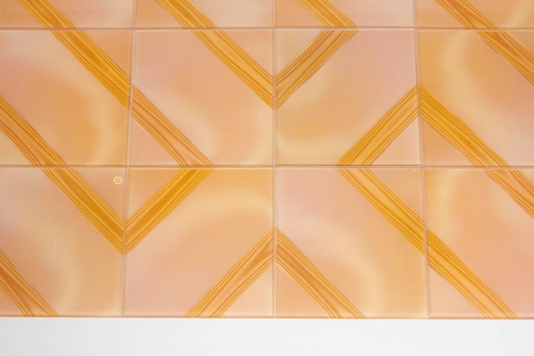 Mid-Century Modern Wonderful Optic Art Glass Wall Tiles For Sale