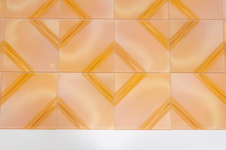 Czech Wonderful Optic Art Glass Wall Tiles For Sale