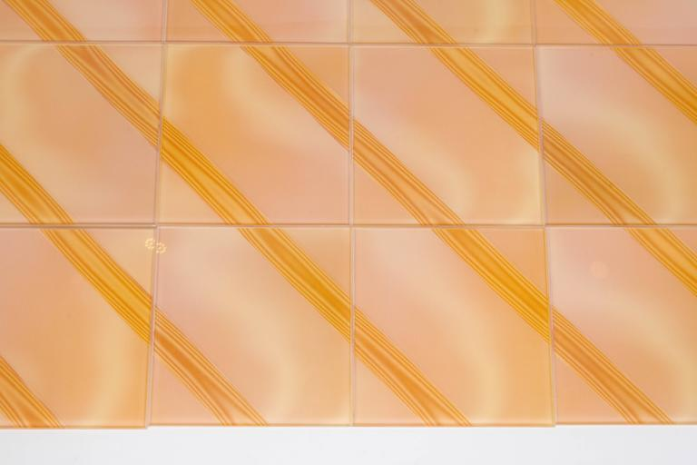 20th Century Wonderful Optic Art Glass Wall Tiles For Sale