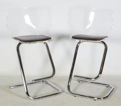 Pair of Italian Lucite and Chrome Bar Stools