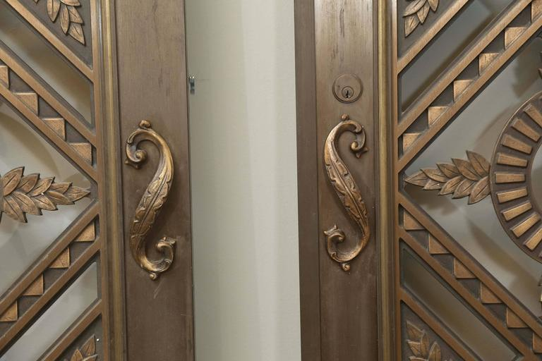 Two French Art Deco Bronze/Copper Doors In Good Condition For Sale In Houston, TX