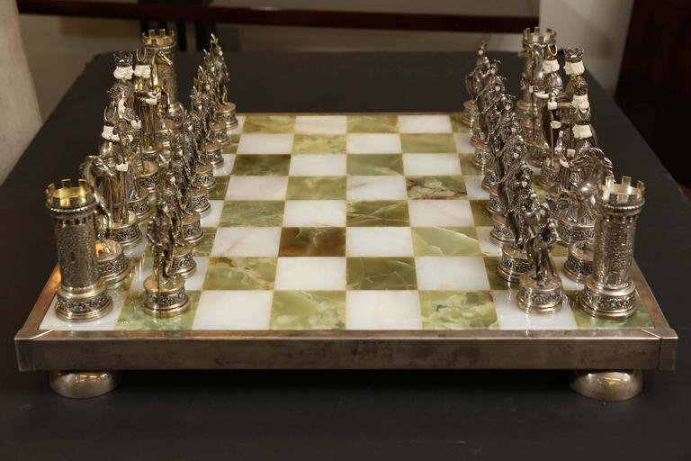 German Jewel Encrusted Sterling Silver Chess Set For Sale