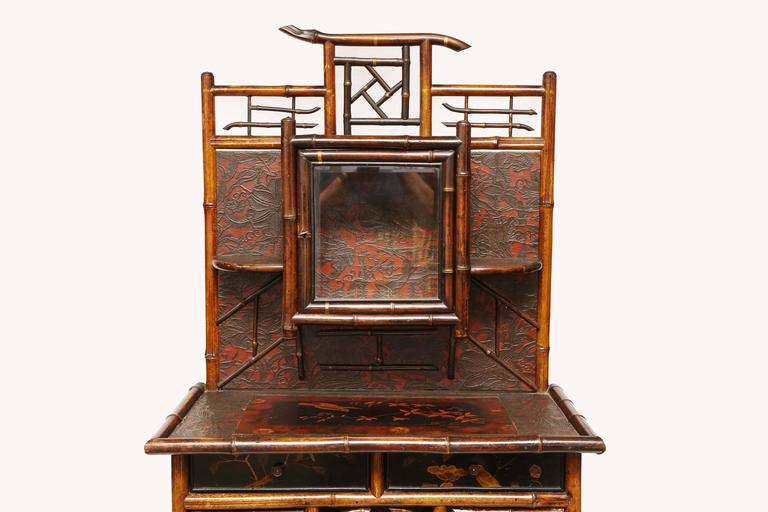 19th Century Fine English 19th English Bamboo Etagere