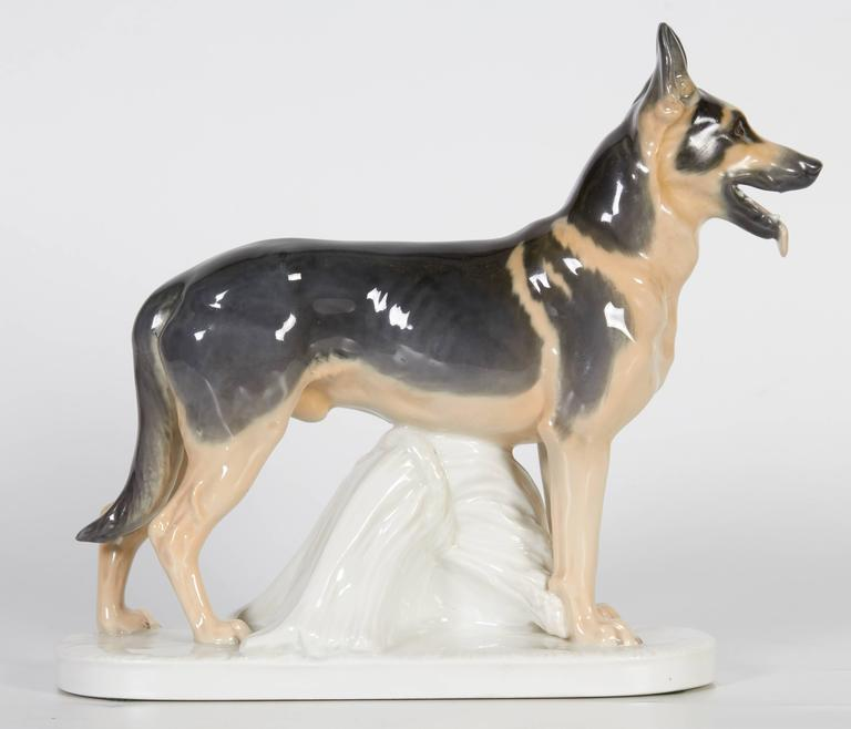 20th Century Meissen Porcelain Figure of German Shepherd Dog For Sale