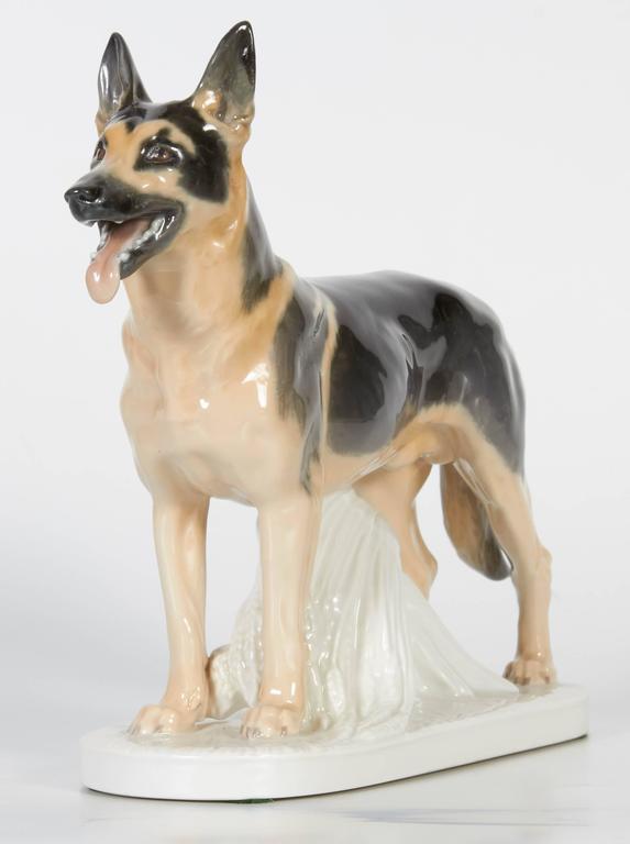 Meissen Porcelain Figure of German Shepherd Dog For Sale 2
