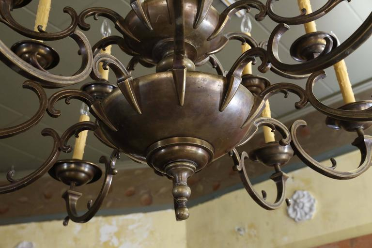 Belgian Large Bronze and Brass Chandelier For Sale