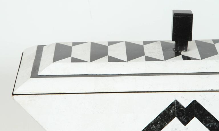 Beautifully crafted deco style marble clad box by Maitland-Smith.