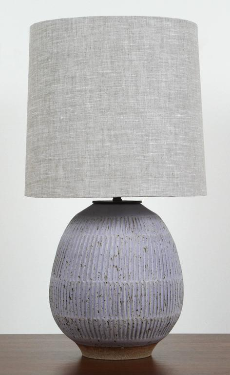 Hand Carved Lavender Stoneware Lamp By Mt Washington