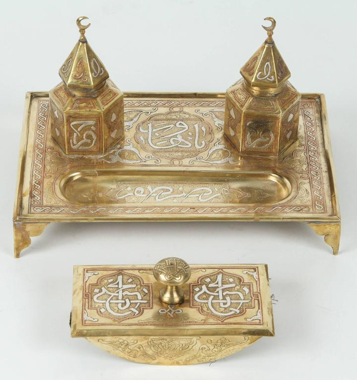 Early 20th Century Desk Set Rare And Great Quality Mamluk Cairoware Style Silver