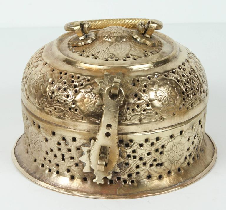 20th Century Anglo-Indian Polished Brass Pierced Box For Sale
