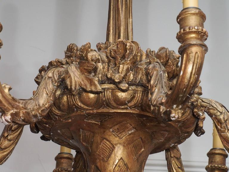 French Large 19th Century Giltwood Basket-Form Chandelier For Sale