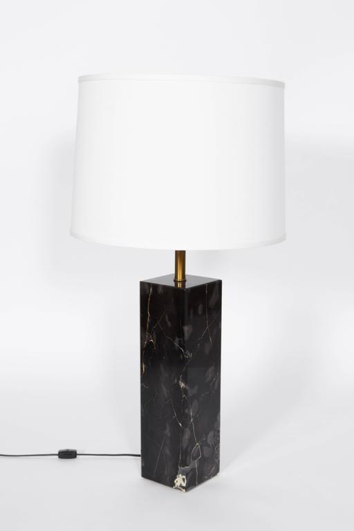 Pair of Marble Square Column Table Lamps in the Manner of T.H. Robsjohn-Gibbings 3