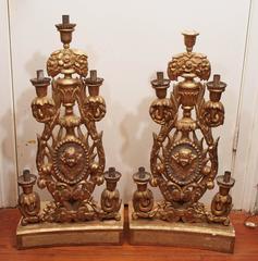 Pair of Italian Gilt Wood Altar Candlesticks