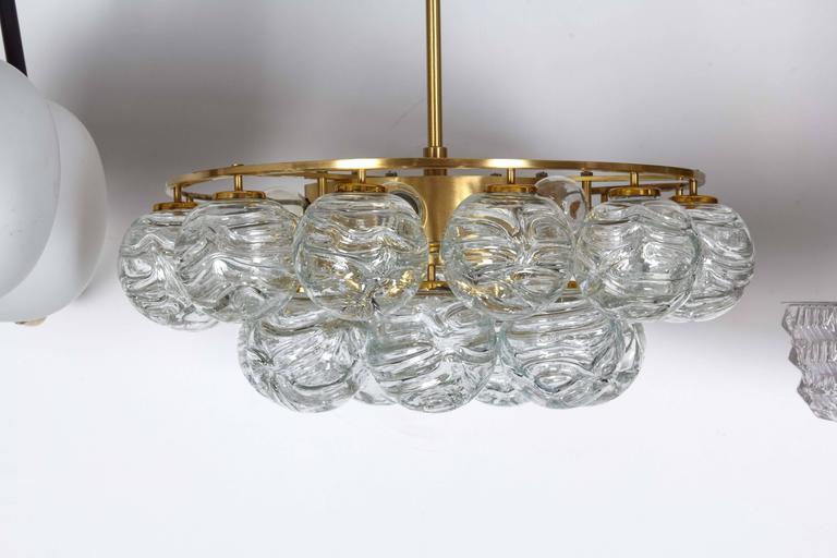 German Doria Glass Sphere Pendant Chandelier For Sale