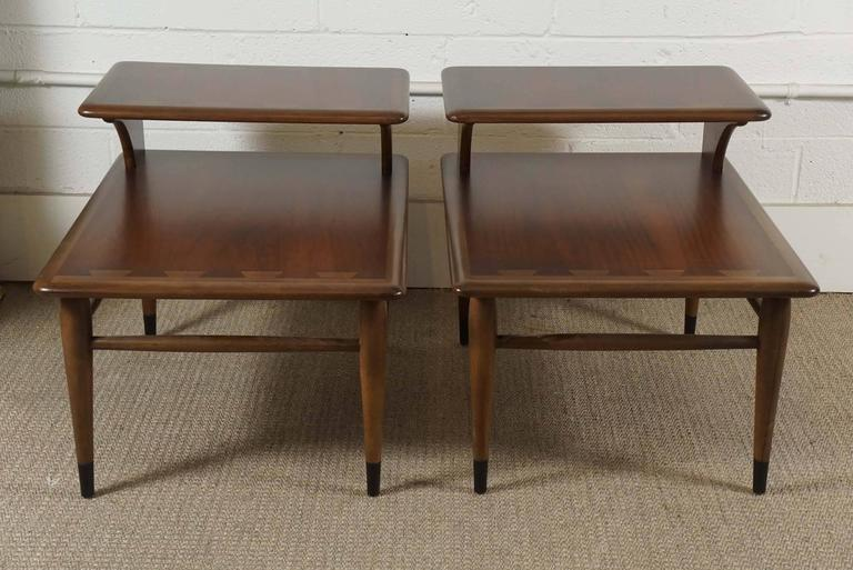 American Pair of Lane Two-Tiered End Tables in Walnut For Sale