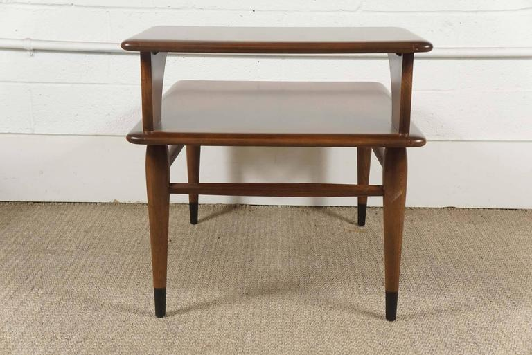 Pair of Lane Two-Tiered End Tables in Walnut For Sale 4
