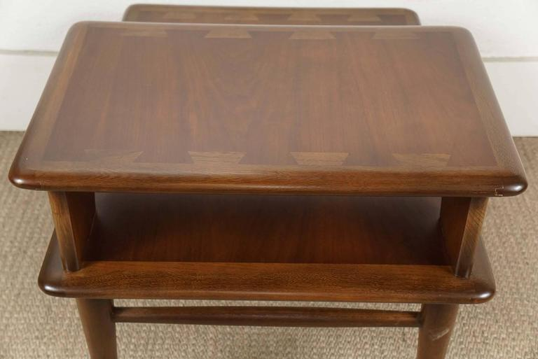 Pair of Lane Two-Tiered End Tables in Walnut For Sale 5