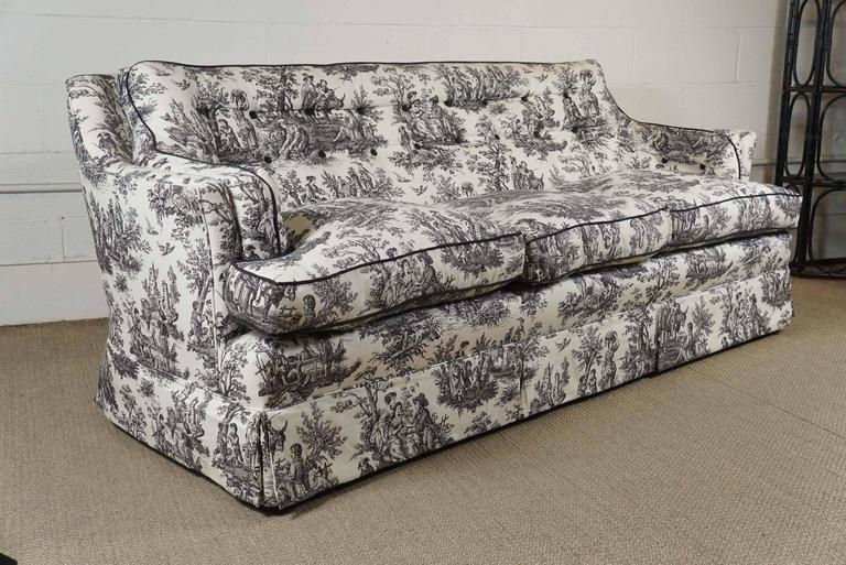 black and white toile sofa for sale at 1stdibs. Black Bedroom Furniture Sets. Home Design Ideas