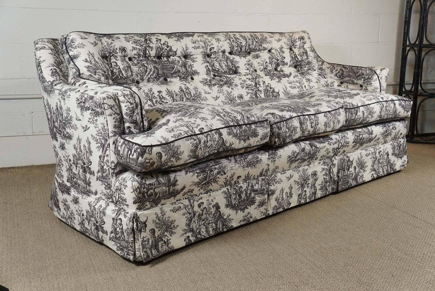 Black and white toile sofa for sale at 1stdibs for White couches for sale