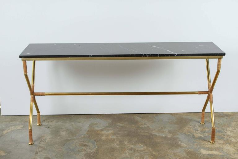 Brass and Raffia Console with Marble Top 2