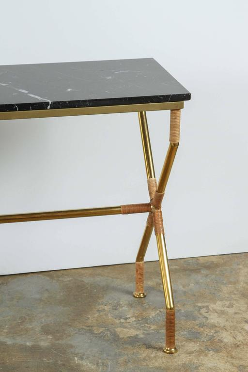 Brass and Raffia Console with Marble Top 3
