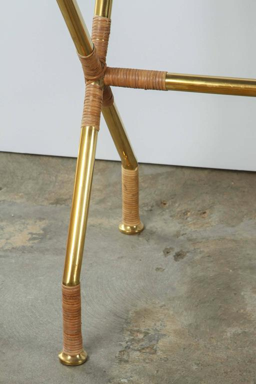 Brass and Raffia Console with Marble Top 4